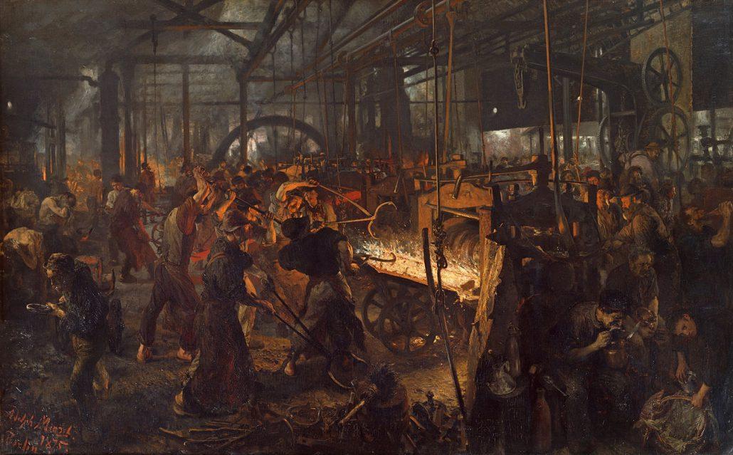 Arbeitsbedingungen im 19. Jh. (Gemälde von Adolph von Menzel)